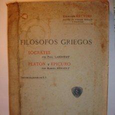 Libros antiguos: FILÓSOFOS Y GRIEGOS, COLECCIÓN ESTUDIO. BARCELONA 1913. Lote 37012181