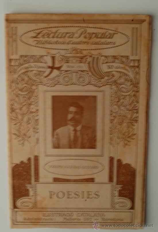 """BIBLIOTECA D'AUTORS CATALANS, JOSEPH IGLESIAS GUIZARD """"POESIES"""" (Libros Antiguos, Raros y Curiosos - Otros Idiomas)"""