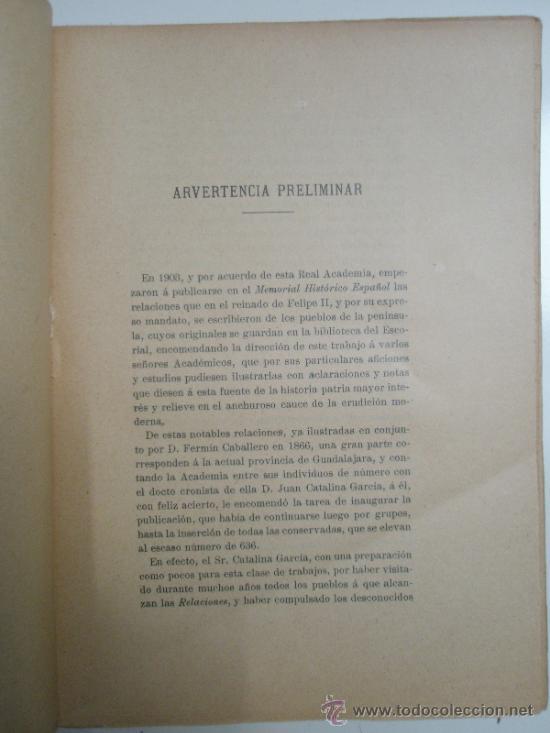 Libros antiguos: Catalina,J. y Pérez Villamil, M.: Relaciones Topográficas de España: Guadalajara IV - Foto 3 - 37614173