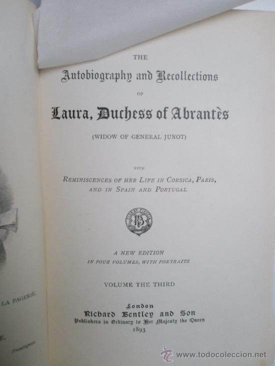 Libros antiguos: The Autobiographie and Recollections of Laura, Duchess of Abrantès (widow of General Junot) ó Memoir - Foto 4 - 37793535
