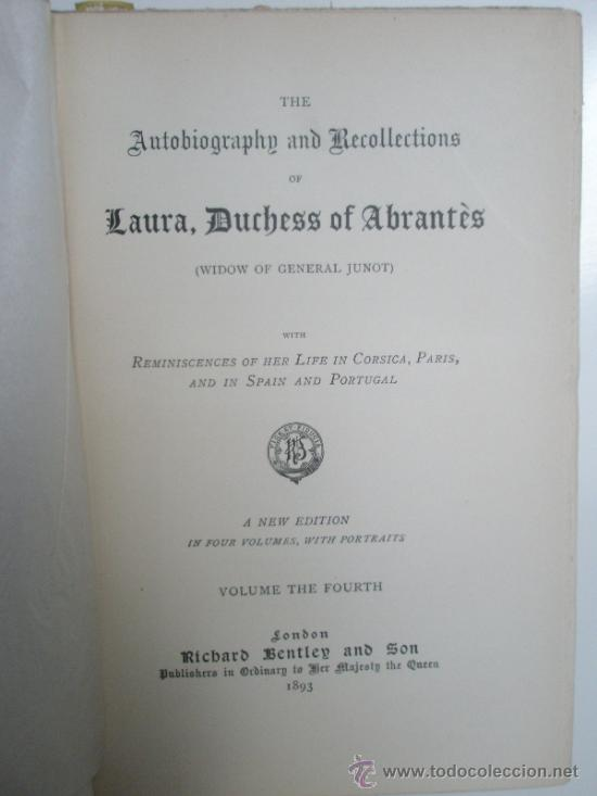 Libros antiguos: The Autobiographie and Recollections of Laura, Duchess of Abrantès (widow of General Junot) ó Memoir - Foto 5 - 37793535