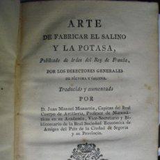 Libros antiguos: 1795 ARTE DE FABRICAR EL SALINO Y LA POTASA PUBLICADO DE ORDEN DEL REY DE FRANCIA. Lote 37806193