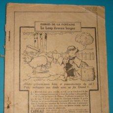 Libros antiguos: LIBRO LES FABLES DE LA FONTAINE, LE LOUP DEVENU BERGER 1922, EN FRANCES CON IMAGENES Y PUBLICIDAD. Lote 38036312