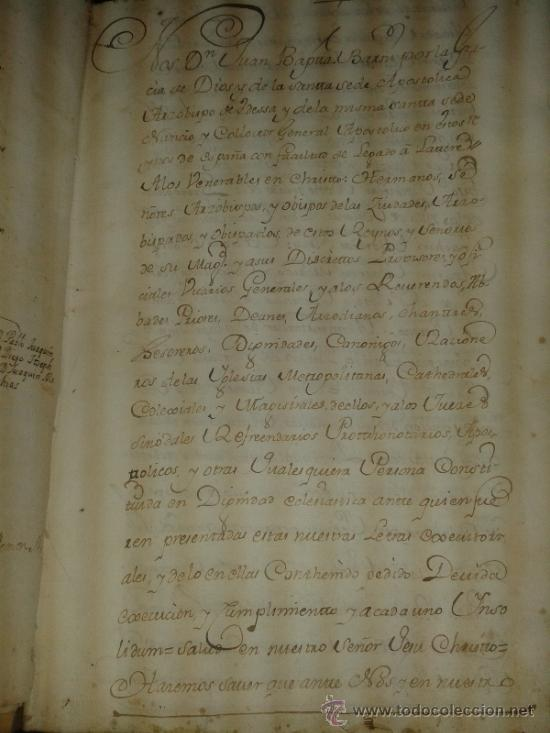 Libros antiguos: DOCUMENTO HISTORICO PERGAMINO PROTOCOLO NOTARIAL DE ESCRIBANIA. 1718-1740. N.6 juan jacva arzobispo - Foto 5 - 38210623