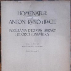 Libros antiguos: RAMON LLULL, TROBADOR PER MANUEL DE MONTOLIU. Lote 38391052