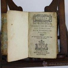 Libros antiguos: 5878 - DE BENEFIZII. LETTERE SPIRITUALI. DIALOG SPIRITUALE.SENECA. 3 TOMOS 1 VOL.VER DESCRIP. 1574. Lote 38470608