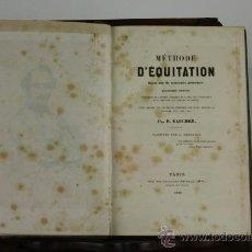Libros antiguos: 5921- METHODE D'EQUITATION. F. BAUCHER. PARIS 1845.. Lote 38499537