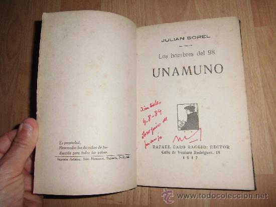 LOS HOMBRES DEL 98 UNAMUNO JULIAN SOREL RAFAEL CARO RAGGIO EDITOR 1917 (Libros antiguos (hasta 1936), raros y curiosos - Literatura - Narrativa - Otros)