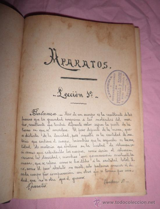 Libros antiguos: APUNTES DE FISICA APLICADA A LA FARMACIA - AÑO 1890 - LIBRO MANUSCRITO ILUSTRADO. - Foto 2 - 38715045