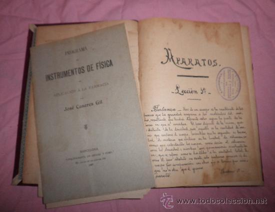 Libros antiguos: APUNTES DE FISICA APLICADA A LA FARMACIA - AÑO 1890 - LIBRO MANUSCRITO ILUSTRADO. - Foto 6 - 38715045