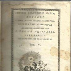 Libros antiguos: LIBRO EN ITALIANO. SUMMA PHILOSOPHICA. ROSELLI. TOMO V. 1788. Lote 38806097