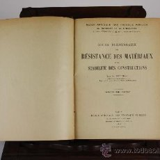 Libros antiguos: 5978- COURS ELEMENTAIRE DE RESISTANCE DES CONSTRUCTIONS. M. REGIMBAL. 1936.. Lote 39260562