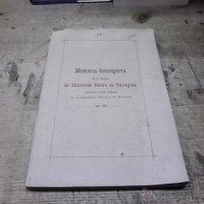 Libros antiguos: 1652.- MEMORIA DESCRIPTIVA DE LA SOCIEDAD LA ILUSTRACION OBRERA DE TARRAGONA. Lote 39406833