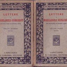 Libros antiguos: LETTERE DI MICHELANGELO BUONARROTI CON PREFAZIONE DI G. PAPINI. 2 VOLS. Lote 39675498