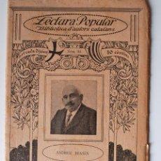 """Libros antiguos: BIBLIOTECA D'AUTORS CATALANS """"A TORNA JORNALS"""" ANDREU BRASES . Lote 39694316"""