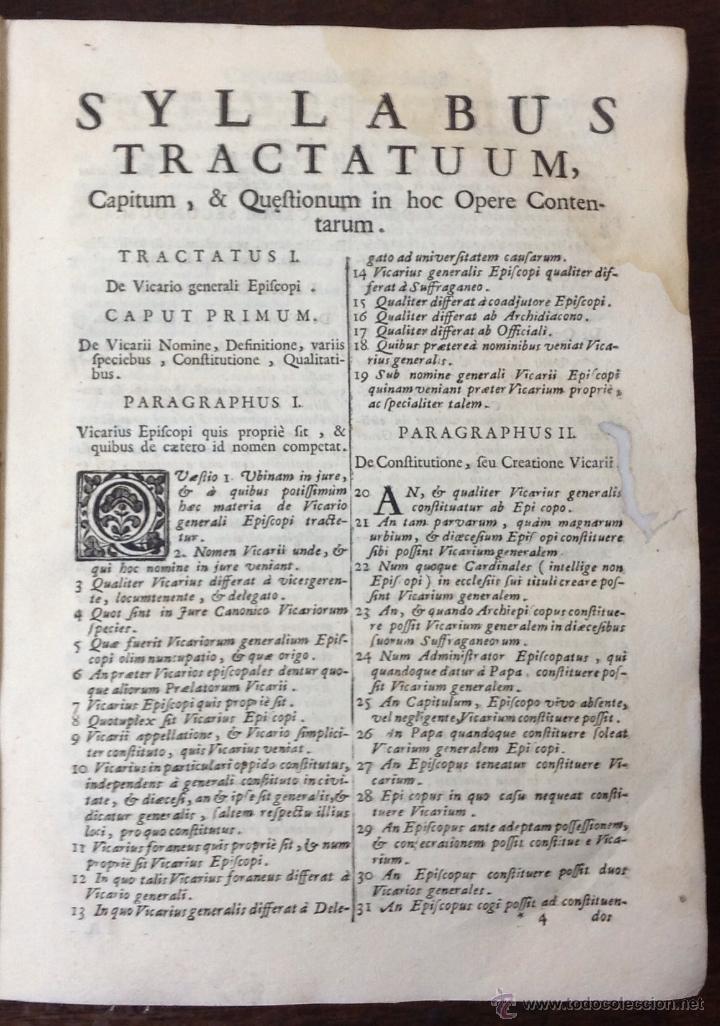Libros antiguos: PETRI LEURENII. TRACTATUS QUATERNARIUS DE EPISCOPORUM VICARIIS.... VENETIIS, 1709. Enc. en pergamino - Foto 4 - 39824811