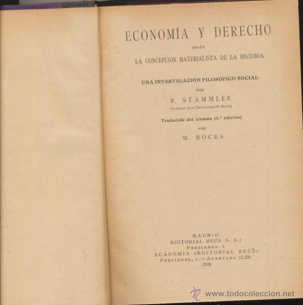Libros antiguos: Economía y Derecho por R. Stammler. Editorial Reus 1929, - Foto 2 - 39874452