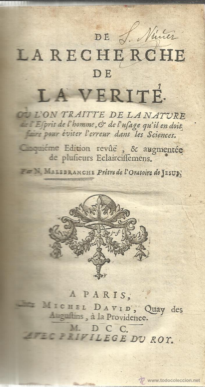 LIBRO EN FRANCÉS. LA RECHERCHE DE LA VERITÉ. MALEBRANCHE. PARÍS. 1700 (Libros Antiguos, Raros y Curiosos - Otros Idiomas)