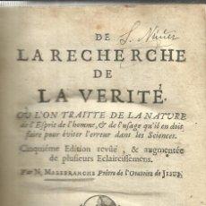Libros antiguos: LIBRO EN FRANCÉS. LA RECHERCHE DE LA VERITÉ. MALEBRANCHE. PARÍS. 1700. Lote 40030120