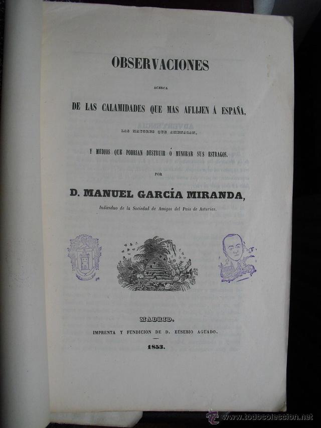 1853 OBSERVACIONES SOBRE LAS CALAMIDADES QUE MÁS AFLIJEN ( SIC) A ESPAÑA LIBRO ÚNICO (Libros Antiguos, Raros y Curiosos - Ciencias, Manuales y Oficios - Otros)