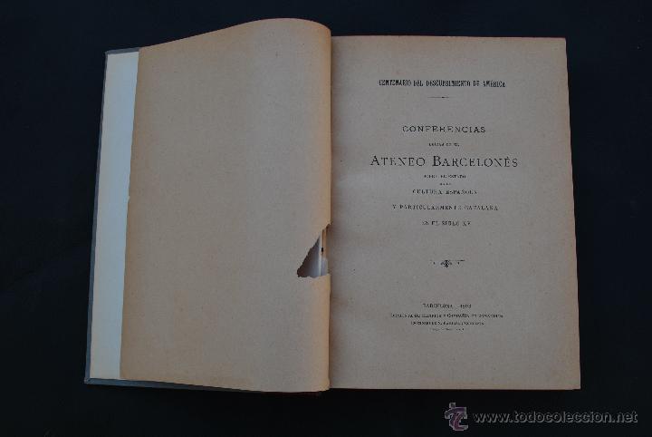 Libros antiguos: CONFERENCIAS ATENEO BARCELONES - BARCELONA 1893 - - Foto 2 - 40167172