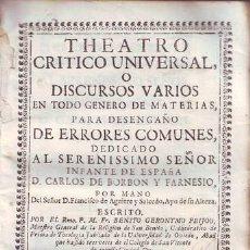 Libros antiguos: FEYJOO, FR. BENITO GERONYMO: THEATRO CRITICO UNIVERSAL. TOMO IV, QUARTA IMPRESSION. 1742. PERGAMINO. Lote 40303370