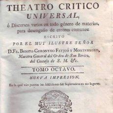 Libros antiguos: FEYJOO, FR. BENITO GERONYMO: THEATRO CRITICO UNIVERSAL. TOMO VIII, NUEVA IMPRESION. 1773. PERGAMINO. Lote 40303691