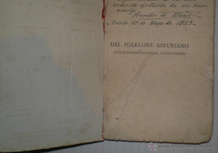 Libros antiguos: AURELIO DE LLANO: DEL FOLKLORE ASTURIANO. Mitos, supersticiones, costumbres. 1922.(Dedicado y firma) - Foto 2 - 40485660