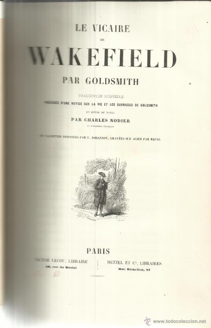 LIBRO EN FRANCÉS. LE VICAIRE DE WAKEFIELD. PAR GOLDSMITH. VICTOR LECOU, LIBRAIRE. PARÍS. MUY ANTIGUO (Libros Antiguos, Raros y Curiosos - Otros Idiomas)