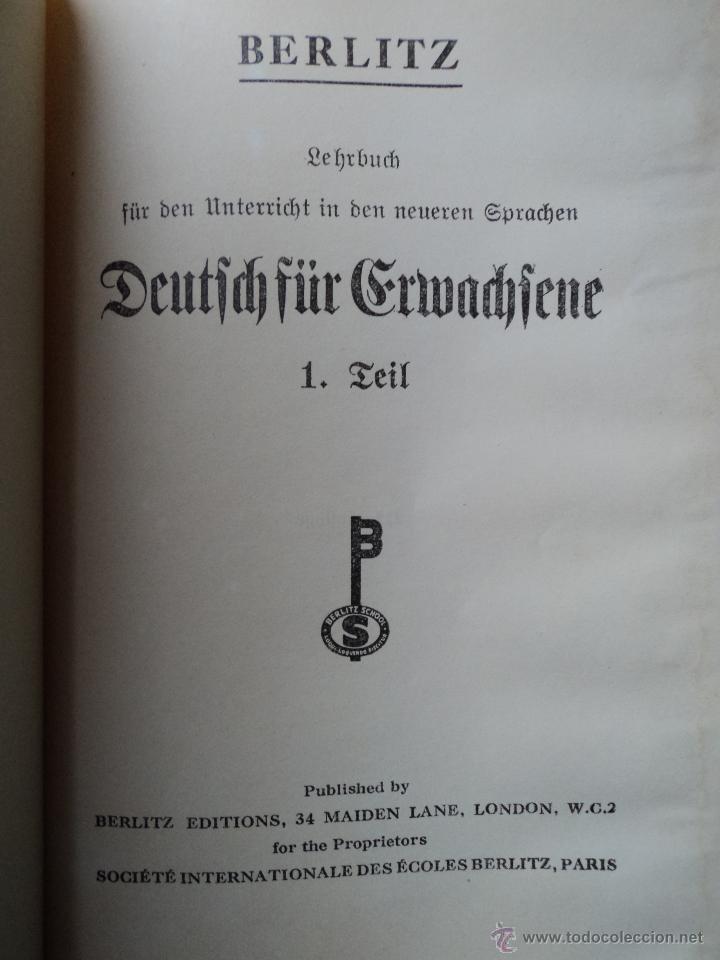 ERFTES BUCH FUR DEN UNTERRICHT IN DEN NEUREN SPRACHEN - BERLITZ - ALEMAN (Libros Antiguos, Raros y Curiosos - Otros Idiomas)