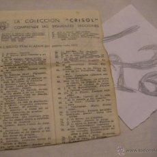 Libros antiguos: ANTIGUO LISTADO CATALOGO COLECCION CRISOL - ENVIO GRATIS A ESPAÑA. Lote 40687833