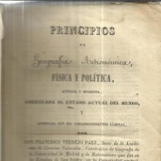 Libros antiguos - PRINCIPIOS DE GEOGRAFÍA ASTRONÓMICA, FÍSICA Y POLÍTICA. FRANCISCO VERDEJO PÁEZ. IMP. REPULLÉS. 1845. - 40694336