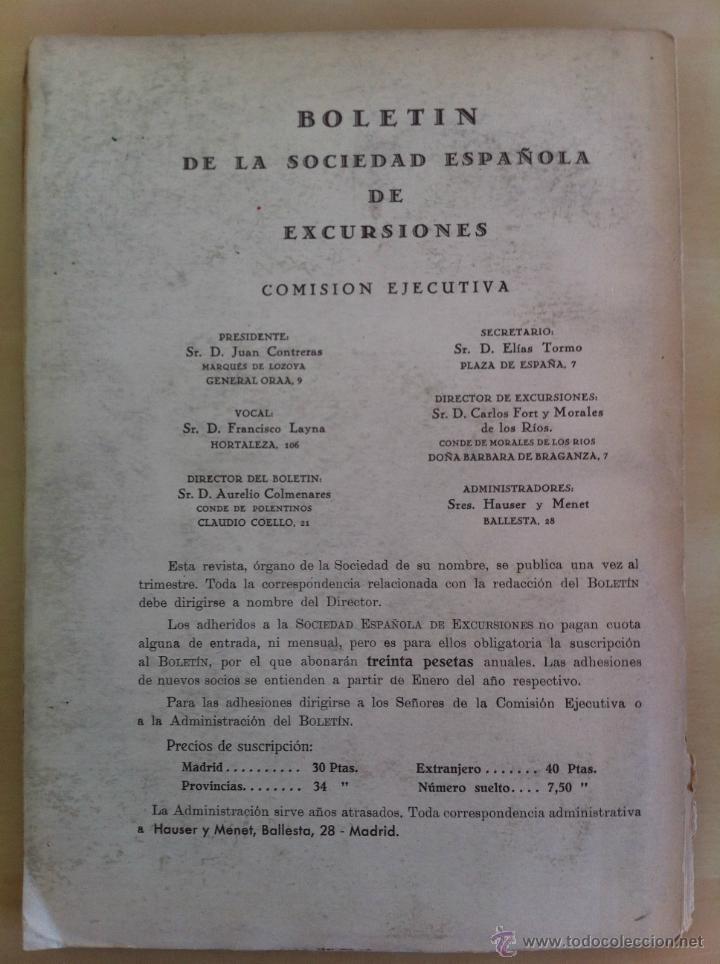 Libros antiguos: BOLETÍN DE LA SOCIEDAD ESPAÑOLA DE EXCURSIONES. 10 TOMOS. ENTRE 1924 Y 1946. HAUSER Y MENET. - Foto 55 - 40903018