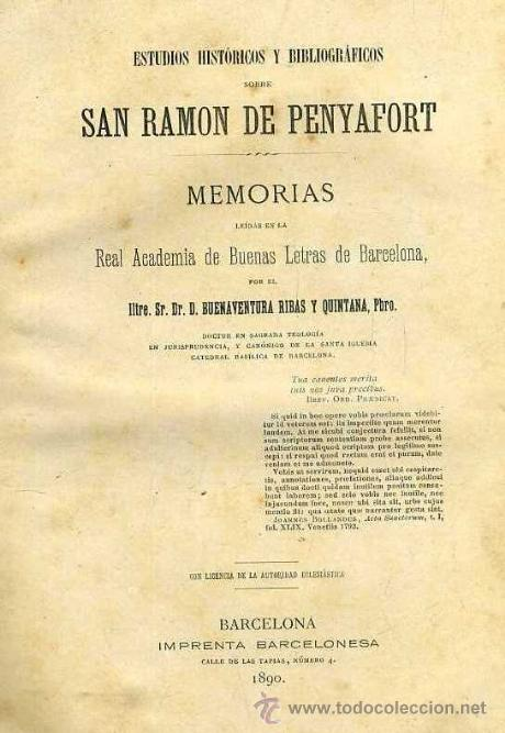 RIBAS Y QUINTANA : ESTUDIOS SOBRE SAN RAMON DE PENYAFORT (1890) (Libros Antiguos, Raros y Curiosos - Historia - Otros)