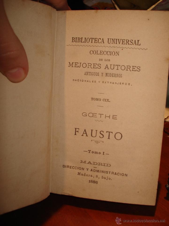 Libros antiguos: biblioteca universal, 1881, Fausto , R. Vega y A. Hidalgo de Mobellau - Foto 2 - 41354431