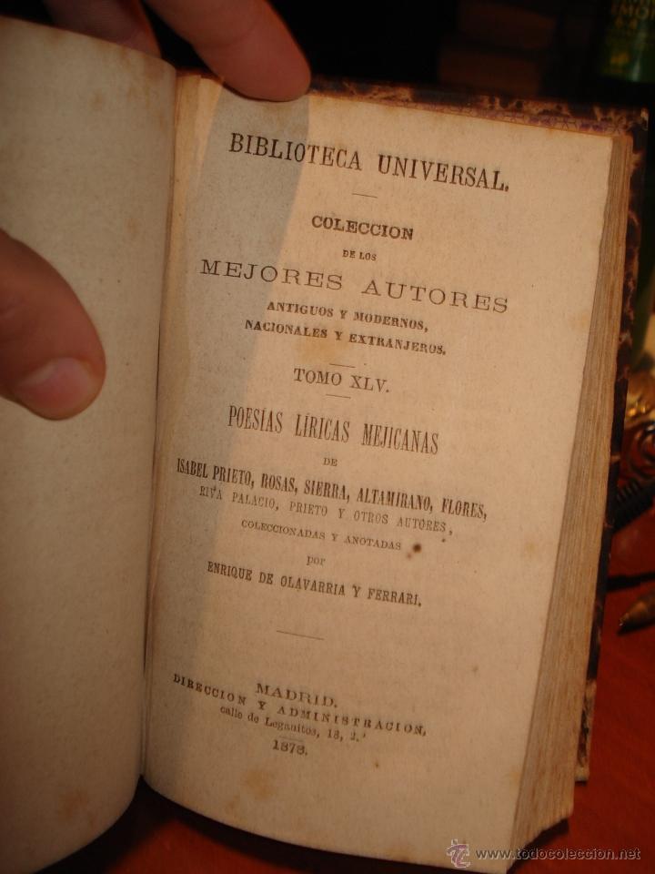 Libros antiguos: biblioteca universal 1881, cuatro épocas , Victor Hugo , poesias mejicanas - Foto 4 - 41354761