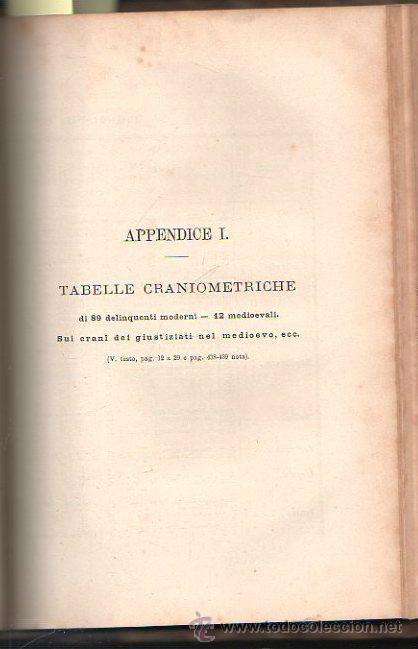 Libros antiguos: LUOMO DELINQUENTE POR EL PROF. CESARE LOMBROSO. FRATELLI BOCCA. ROMA TORINO FIRENZE 1878 - Foto 4 - 26532069