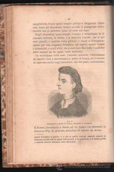 Libros antiguos: LUOMO DELINQUENTE POR EL PROF. CESARE LOMBROSO. FRATELLI BOCCA. ROMA TORINO FIRENZE 1878 - Foto 13 - 26532069
