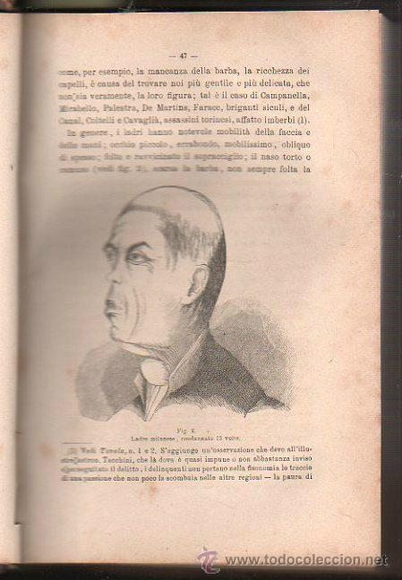 Libros antiguos: LUOMO DELINQUENTE POR EL PROF. CESARE LOMBROSO. FRATELLI BOCCA. ROMA TORINO FIRENZE 1878 - Foto 14 - 26532069