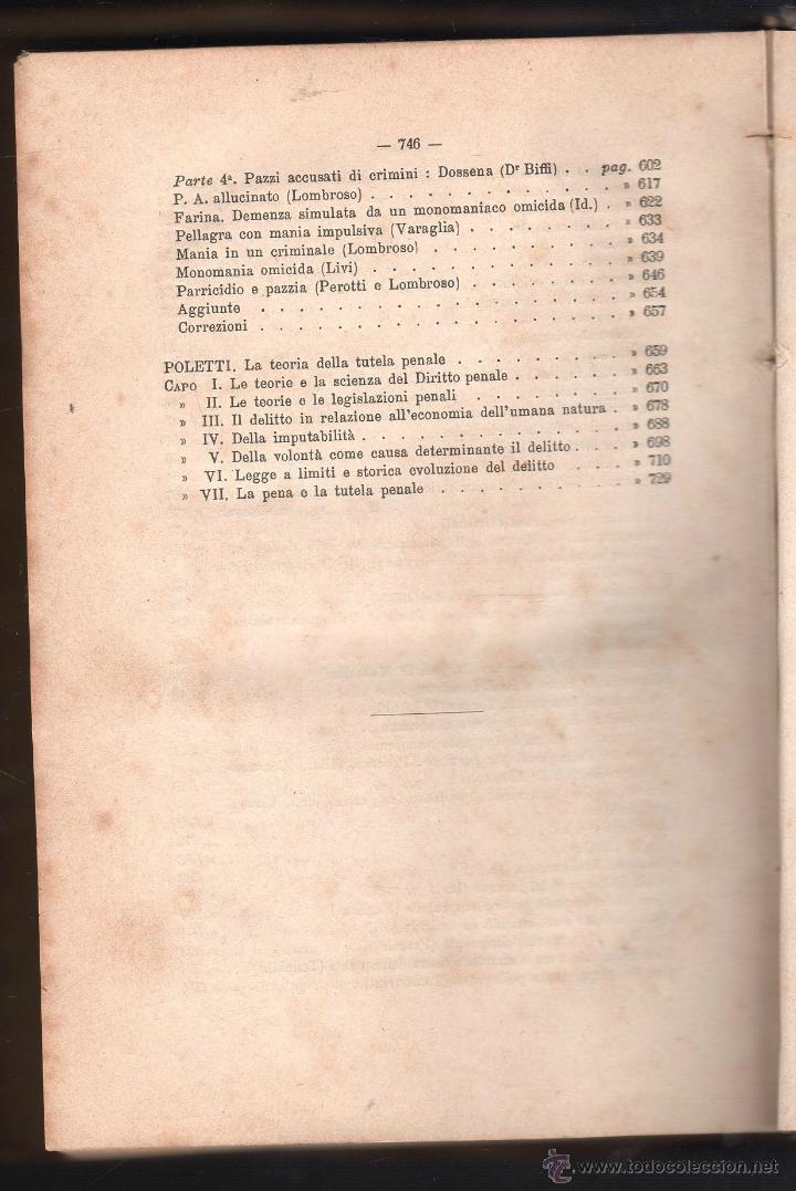 Libros antiguos: LUOMO DELINQUENTE POR EL PROF. CESARE LOMBROSO. FRATELLI BOCCA. ROMA TORINO FIRENZE 1878 - Foto 15 - 26532069