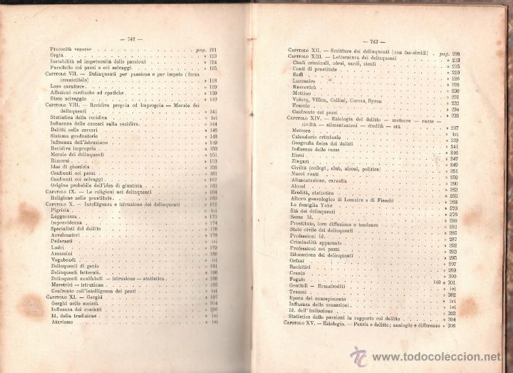 Libros antiguos: LUOMO DELINQUENTE POR EL PROF. CESARE LOMBROSO. FRATELLI BOCCA. ROMA TORINO FIRENZE 1878 - Foto 20 - 26532069