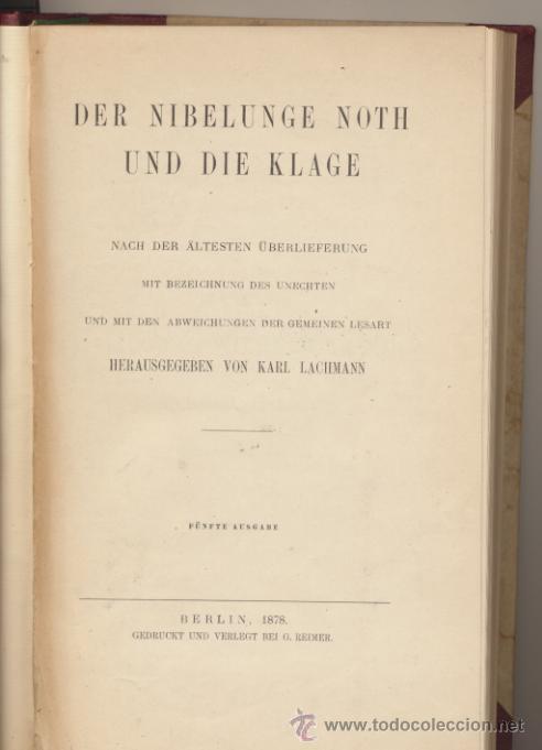 Libros antiguos: Der Nibelunge Noth Und Die Klage. Berlin 1878. - Foto 2 - 42240175