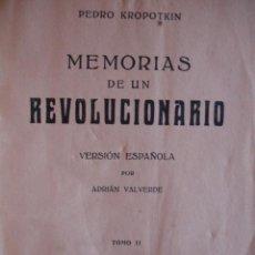 Alte Bücher - MEMORIAS DE UN REVOLUCIONARIO.PEDRO KROPOTKIN.ED ATLANTE.2 TOMOS.S/A - 42444904