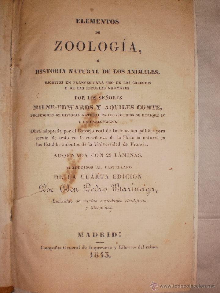 ELEMENTOS DE ZOOLOGIA O HISTORIA NATURAL DE LOS ANIMALES 1843 (Libros Antiguos, Raros y Curiosos - Ciencias, Manuales y Oficios - Otros)