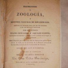 Libros antiguos: ELEMENTOS DE ZOOLOGIA O HISTORIA NATURAL DE LOS ANIMALES 1843. Lote 42672751