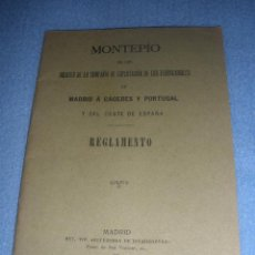 Libros antiguos: LIBRO MONTEPIO AGENCIA EXPLOTACIÓN FERROCARRIL MADRID A CACERES Y PORTUGAL.REGLAMENTO 1914. Lote 42701212