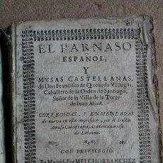 Libros antiguos: EL PARNASO ESPAÑOL Y MUSAS CASTELLANAS. QUEVEDO VILLEGAS (FRANCISCO DE). Lote 64937035