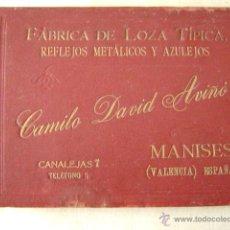 Libros antiguos: FABRICA DE LOZA TIPICA,REFLEJOS METALICOS.CAMILO DAVID AVIÑO.658. Lote 42967636