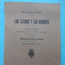 Livres anciens: LAS LETRAS Y LOS GRANDES. DISCURSOS. 1914. FRANCISCO FERNÁNDEZ DE BETHENCOURT 1914. Lote 42986354