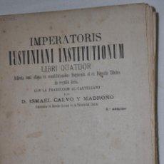 Libros antiguos: IMPERATORIS IUSTINIANI INSTITUTIONUM. LIBRI QUATUOR RM65473. Lote 43256763